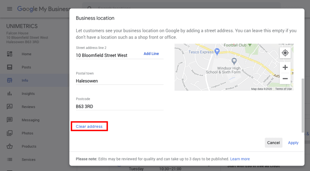 How to clear your address on Google My Business