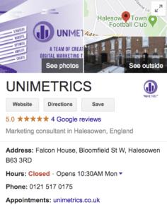 UNIMETRICS Google My Business profile